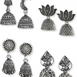 Pack of Four Finely Detailed & Designer Oxidised Jhumki Earrings