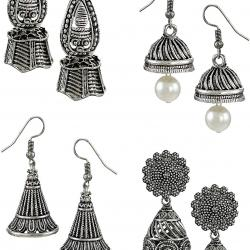 Dome Shaped Hanging Jhumki with Silver Bead Drops Earring