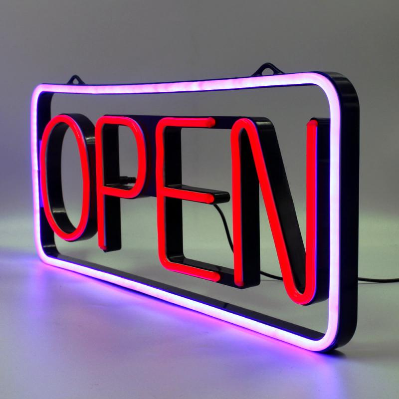 Blue and Red LED Open Sign