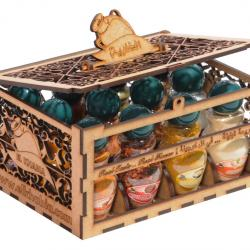 Spices in Wooden Box of 12 Jars